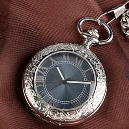 self winding pocket watch Canada - Classical Silver Hollow Cover Rome Numerals Gray Dial Mechanical pocket watch Self Wind Fob Watch Pendant With Chain