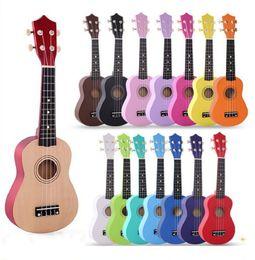 """Bambini 17 colori 21 """"Soprano Ukulele Basswood nylon 4 corde Guitarra acustico basso strumento musicale a corde per principianti in Offerta"""