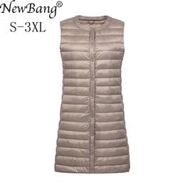 $enCountryForm.capitalKeyWord NZ - NewBang Brand Women's Long Vest Ultra Light Down Vests Women Female Down Coat Long Slim Sleeveless Without Collar Jacket