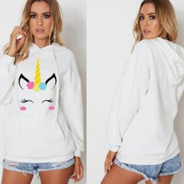 Discount cute print sweaters - Women Sweater Unicorn Cute Fashion Cartoon Print Couples Whtie Hooded Sweatshirt Hoodies Jumper Pullover With Pockets MM