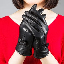 leather gloves for females NZ - High quality Women's fashion winter gloves For Ladies' More warm Add wool gloves female cape glove Women Genuine leather