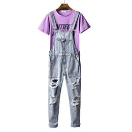 light wash overalls 2019 - Europe and America Street Hole jeans Men Summer Light-colored Washing Tool Suspenders Korean version of the trend Strap