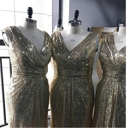 Plus Size Peplum Prom Dresses Australia - Bling Rose Gold V Neck Sequined Maid of Honor Dresses Backless Plus Size Long Beach Bridesmaid Bridal Party Evening Gowns 2017 Custom cheap