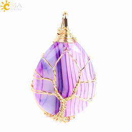 Discount wire wrapped gemstones - CSJA Gold Platinum Tree of Life Wire Wrap Water Drop Necklace Pendants Reiki Natural Gemstone Purple Blue Veins Real Aga
