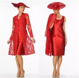 7194e1b04 2018 nueva envoltura roja madre de la novia viste con larga chaqueta de  encaje escote redondo madre desgaste hasta la rodilla formal vestido de  noche