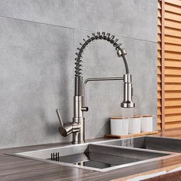 $enCountryForm.capitalKeyWord Australia - Brushed Nickel Kitchen Faucet Bolden Single Handle Commercial with Dual Function Pull Down Spray Head Finish