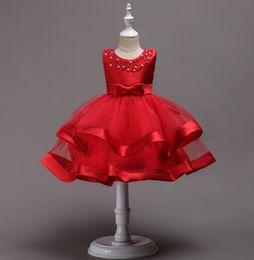 $enCountryForm.capitalKeyWord Australia - Vintage Flower Girls Dresses Children Party Ceremonies Clothing Princess Baby Girl Wedding Dress Birthday Big Bow Christening