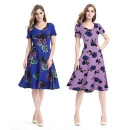 Print Dresses Neck For Evening NZ - Dresses Beach Dresses Short Sleeve Print Floral Casual Dress for Women Slim Fit Pleated Evening Dress