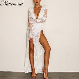black v neck jumpsuit Australia - NATTEMAID 2018 Summer Overalls Jumpsuit Deep V Neck High Split Sexy Jumpsuit Party Full-Length Long Sleeve Sequin Women Rompers