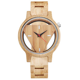 $enCountryForm.capitalKeyWord UK - Vintage Skeleton Full Wood Watch Male Unique Trianlge Face Hollow Transparent Men Women Wooden Wrist Watches Minimalist Clock