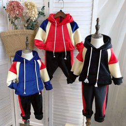 Blue velvet clothing online shopping - 2pcs set Baby Boy patchwork outfits children Kids Hooded Hoodie top pants Autumn Velvet suit kids Clothing Set home clothing AAA1387