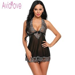 black halter mini dress NZ - Avidlove Halter Lace Lingerie Sexy Hot Erotic Underwear Women Mini Babydoll Dress Nightwear Langeri Negligee Porn Sex Costume Y18101601