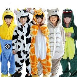 Kinderschlafanzug Winter Flanell Tier Schlafanzug Einteiler Totoro / Stitch / Panda / Dinosaurier / Pikachu Bbay Jungen Mädchen Schlafanzug Kinder im Angebot