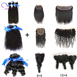 brazilian virgin hair texture UK - Brazilian Virgin Hair 3 Bundles With Closure Frontal Straight Loose Wave Curly Hair Bundles 100% Unprocessed Human Hair Weave Extensions