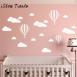 diy balloons 2019 - ISHOWTIENDA DIY Large Clouds Balloon Wall Decals Children's Room Home Decoration Art 60x40cm Cloud balloon wall sti