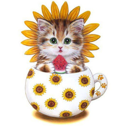 China Full square diamond embroidery 3D photo round rhinestone 5D DIY diamond painting sun flower cup kitten fashion gift decoration supplier cups photos suppliers