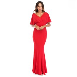 dropped neck evening dresses UK - Elegant Evening Party Women Dress V Neck Flare Sleeve Royal Blue Maxi Vestidos Ruched Mermaid Red Summer Dresses 2018