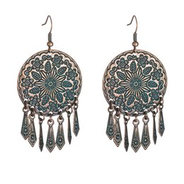 Chinese  Retro Red Resin Earrings For Women Big Round Carved Flowers Totem With Long Tassel Pendent Dangle Bohemia Girls Earring Jewelry haif manufacturers