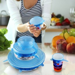 $enCountryForm.capitalKeyWord Australia - Stretchable Silicone Food Fresh Cover Wrap Fruit Lids Cover for Bowls Pots Cups Food Fresh Keeping Cover Kitchen Tools 6pcs Set wn558