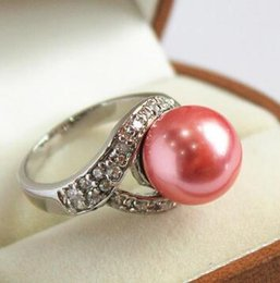 Shipping Free China Ring Pearl Australia - Free Shipping noblest lady's silver plated with crystal decorated &12mm red shell pearl ring(#7 8 9 10)