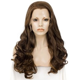 Chinese  Beautiful Natural Lace Front Wig Deep Wave Light Chestnut Brown Wigs For Women Heat Resistant Fiber Synthetic Lace Wig 24 Inches Cosplay manufacturers