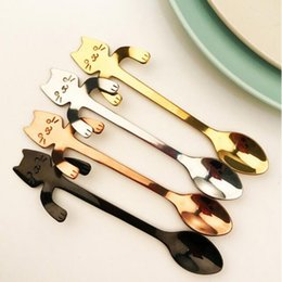 flatware stainless steel grades 2019 - Coffee Spoon Mini Cat Long Handle Creative Spoon Drinking Tools  grade Stainless Steel Kitchen Gadget Flatware Tableware