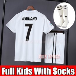 ba62a1486 2019 Kids Kit Real Madrid Soccer Jersey 2018 19 Home White Away Boy Child  Youth MARIANO ISCO VINICIUS JR BALE RONALDO 3rd Football Shirts