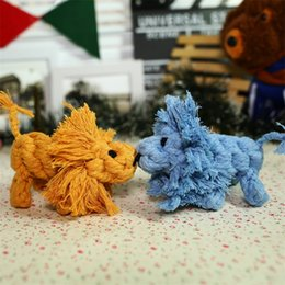Discount cute knitted toys - 2018 Fashion Pet Chew Molar Toy Cute Small Lion Cotton Rope Knitted Doll Dog Teether Toys Practical Dogs Supplies 5 8yf