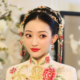 Wholesale Butterfly Headdress Chinese Style Classical Crystal Bridal Jewelry Hair Accessories Wedding Earring Jewelry Set