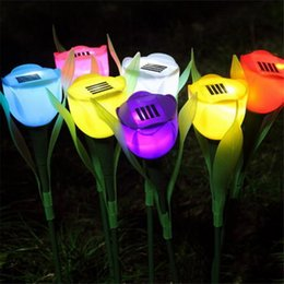 Flower yard lights online shopping - Outdoor Yard Garden Solar Power LED Light Romance Tulip Flower Shape Lawn Lamp Night Light Home Holiday Decoration Lights