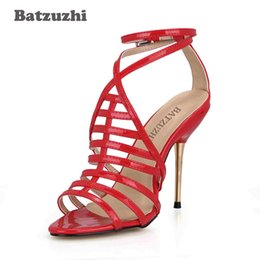 sexy super high heels shoes Canada - wholesale 10.7cm High Heel Shoes Women Red Leather Summer Gladiator Sandal Shoes Sexy Iron Heels Zapatos Mujer, Size 35-43