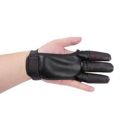 $enCountryForm.capitalKeyWord UK - Archery Finger Guard Hand Protector Gloves Tab Safety PU Cow Leather Right Hand Hunting Black Shooting Outdoor