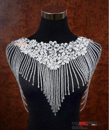 $enCountryForm.capitalKeyWord NZ - 2019 Luxurious Crystal Rhinestone Jewelry Bridal Wraps White Lace Wedding Shawl Jacket Bolero Jacket Wedding Dress With Beaded