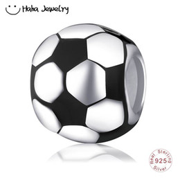 China Haha Jewelry Football Charm Authentic 925 Sterling Silver Enamel Soccer Bead Fit Original Pandora Style Sport Series Snake Chain Bracelet cheap soccer series suppliers