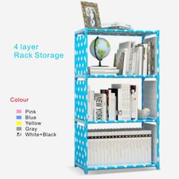 Novo armazenamento de livro multi-funcional Rack de 4 camadas, 5 cores, filme coberto impermeável tecido não tecido, tubo de aço inoxidável engrossado.
