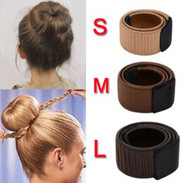 french hair bun accessories 2019 - Girls French Magic Hair Bun Maker Donut Styling Hair Fold Wrap Snap Accessories for Women or Kids Curler Roller Dish Hea