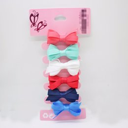 Hair Clips For Little Girls Australia - Hot sale 6 pcs lot rubber bow hair clips 35mm alligator clips for little girls solid lovely barrettes hair accessories