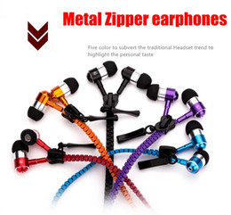 China High quality Metal Zipper Headphone In Ear 3.5mm round head In-Ear Zip Earphone Control Talk Metal Earphones for cell phone iphone Samsung suppliers