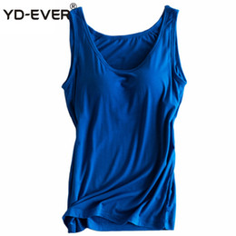 tank tops built bras 2019 - YD-EVER Women Built In Bra Padded Tank Top Female Modal Breathable Fitness Camisole Tops Solid Push Up Bra Vest Blusas F