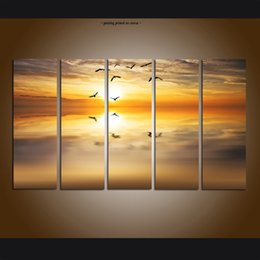 $enCountryForm.capitalKeyWord NZ - Large Modern Giclee Print Art Sunset Glow Seascape Beach Painting Canvas Print Wall Home Decor 5 Piece Painting picture for Living Room Deco