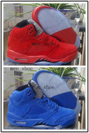 Suede Basketball Shoes NZ - 2017 Cheap Men 5 V Raging Bull Red Suede Tongue Reflect Basketball Shoes 5s Bull Blue Sneakers Shoes US8-13 With Shoes Box