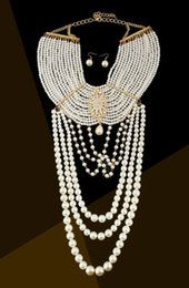 $enCountryForm.capitalKeyWord NZ - wedding bridal accessories elegant multilayer pearl chain necklace pendants women wedding shoulders chain bridal body jewelry coller