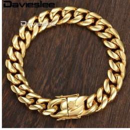 Toptan satış Davieslee Miami Curb Küba Erkek Bilezik Zinciri Hip Hop 316L Paslanmaz Çelik Gümüş Altın Renk 8/12 / 14mm 9 inç DHBM111