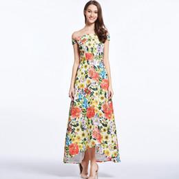 $enCountryForm.capitalKeyWord UK - New Arrival 2018 Women's Sash Neckline Sexy Off the Shoulder Floral Printed Dobby Hi Low Fashion Summer Long Dresses Designer Casual Dresses