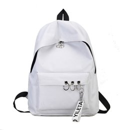 Discount college rings - Travel Backpack Fashion Ring Bookbags Satchel Womens Backpack Grey Black White Solid Canvas Escolar College 2pcs lot