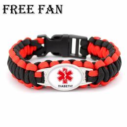 Free Fan Diabetic Medical Alert Paracord Bracelet Male Outdoor Survival Wrap Bracelets&Bangles Jewelry For Men Women Gift