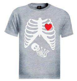 Pregnant baby shirts online shopping - Hot Tops Pregnant Skeleton T Shirt Baby Funny Gothic Maternity Halloween Girl X ray Boy Short Sleeve Fashion Summer Printing Casual