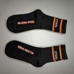 Huf socks fasHion online shopping - Heron Preston Black White Orange Stripe long Socks Socks Fashion Hip Hop Winter Autumn Streetwear Socks