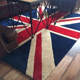 Wholesale Nostalgic England style soft warm bedside mat for living room simple style living room ground mat English flag pattern carpet