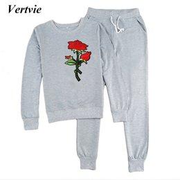 hoodie sweatpants set women 2019 - Vertvie Brand 2 Pieces Set Floral  Embroidery Women s Hoodies Tracksuit 424893386